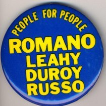 Image of Pin button: People for People. Romano, Leahy, Duroy, Russo. Hoboken, no date, ca. 1989. - Button, Political