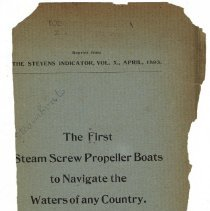 Image of Reference copy: The First Steam Screw Propeller Boats to Navigate the Waters of Any Country. - Booklet