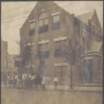 Image of Digital image of photograph of building exterior with children, Hoboken?, no date, circa 1900. - Print, Photographic
