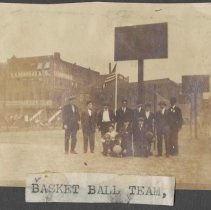 Image of Digital image of photo of a basketball team on an outside court, Hoboken, no date, circa 1900. - Print, Photographic