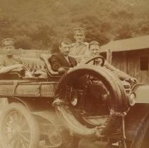 Image of Digital image of photo of four men in an automobile, no place, no date, circa 1910-1915. - Print, Photographic