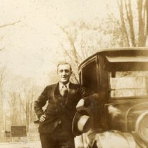 Image of Digital image of photo of a man in suit leaning against an automobile, no place (probably Hoboken), no date, circa 1915-1920. - Print, Photographic