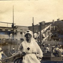 Image of Digital image of photo of Marie Durstewitz in a nurse's uniform at an outdoor play ground, [Hoboken], no date, circa late 1910's - early 1920's. - Print, Photographic
