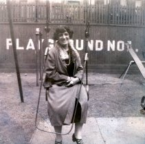 Image of Digital image of photo of Marie Durstewitz seated on a swing at playground no. 1, [Hoboken], no date, circa late 1910's - early 1920's. - Print, Photographic