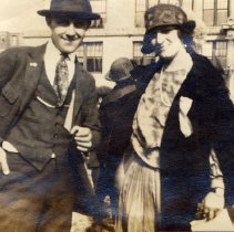 Image of Digital image of photo of Marie Durstewitz and a man in Church Square Park, [Hoboken], no date, circa late 1910's - early 1920's. - Print, Photographic