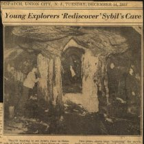 Image of Digital image of newsclipping with photo regarding the re-opening of Sybil's Cave, December 14,1937. - Print, Photographic