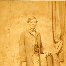 Image of Digital image of photo of a young man posed in photo studio, Prag, no date, circa 1870-1880's. - Print, Photographic