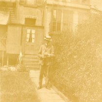 Image of Digital image of photo of a man posed in suit with straw boater in backyard, no place, (Hoboken?), no date, circa1900 - 1930. - Print, Photographic