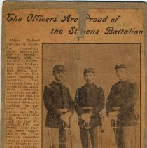 Image of Digital image of newspaper photo of Julius & George Durstewitz + Richard Stevens with article re Stevens Battalion, [Hoboken], no date, ca 1901-1906. - Print, Photographic
