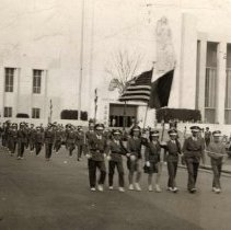 Image of Digital image of photo of the Hoboken Playgrounds Field Band marching at the New York World's Fair, New York, 1940. - Print, Photographic