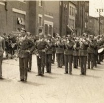 Image of Digital image of photo of the Hoboken Playgrounds Field Band assembled on street near the Recreation Center,113 Jefferson St., Hoboken,1938. - Print, Photographic