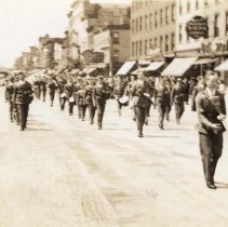 Image of Digital image of photo of the Hoboken Playgrounds Field Band marching on Washington St., Hoboken, no date, circa 1940. - Print, Photographic