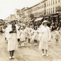 Image of Digital image of photo of a Hoboken Playgrounds girls marching unit on Washington St., Hoboken, no date, circa 1938-1940. - Print, Photographic
