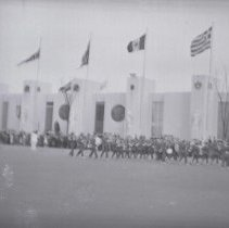 Image of Digital image of photo of the Hoboken Playgrounds Field Band marching at the New York World's Fair, New York, 1940. - Negative, Film