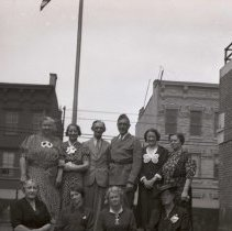 Image of Digital image of B+W negative image ofJulius & Anthony Durstewitz (Senior) and seven women (family?) on a roof, Hoboken. no date, circa 1938-1940. - Negative, Film