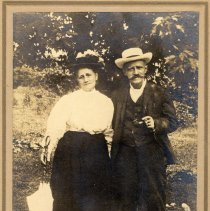 Image of Digital image of photo of elderly Frank & Katherin Szontag posed outdoors, Hoboken, no date, circa 1915-1925. - Photograph