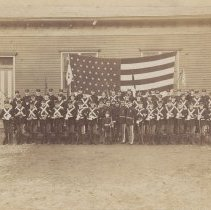 Image of Digital image of group photo of members of Stevens Battalion, Hoboken, 1897. - Print, Photographic