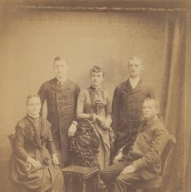 Image of Digital image of portrait photo of Durstewitz family posed in photographer's studio, no place (probably Hoboken), no date, circa 1880-1885. - Photograph
