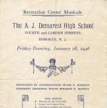 Image of Digital images of program for Recreation Center Musicale, Demarest High School, Friday evening, January 18, 1946. - Program