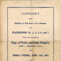 Image of Digital images of program for Concert & Exhibition of Dances..., at No. 1 School, Hoboken, Friday evening, April 11, 1919. - Program