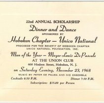 Image of Digital images of tickets for 22nd Annual Scholarship Dinner and Dance, Hoboken Chapter Unico National, Union Club, Hoboken, Nov. 23, 1968. - Ticket