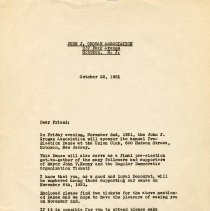 Image of Digital image of letter: Signed letter from John J. Grogan, Oct. 22, 1951 inviting recipient to annual Pre-Election Dance at Union Club. - Letter
