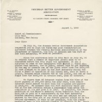 Image of Digital images: typed letter signed by Ida Housman, Housman Better Government Assn., to Board of Commissioners, Aug. 3, 1952, re advocating pier lease - Correspondence