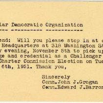 Image of Digital image, imprinted postcard: A reminder to pick-up Challenger badge & credentials on Monday, Nov. 5th for Nov. 6, 1951 election. - Card