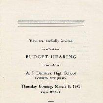 Image of Digital images, brochure: Budget Hearing held at Demarest High School, Hoboken, Thursday, March 8,1951. - Booklet