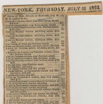 """Image of Digital image of July 31, 1862 newsclipping with """"Sales of Real Estate at Hoboken, July 29, - by E.H. Ludlow & Co."""" - Documents"""