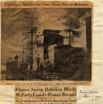 Image of Digital images of Jan. 2, 1940 N.Y. Herald Tribune newsclipping re Jan. 1 fire on Harrison St., destroying Mayor McFeely's home & other buildings. - Documents