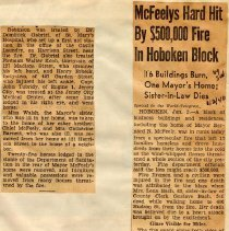 Image of Digital images of Jan. 2, 1940 N.Y. World-Telegram newsclipping re Jan. 1 fire on Harrison St., destroying Mayor McFeely's home & other buildings. - Documents