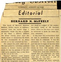 Image of Newsclipping editorial re death of former Mayor Bernard N. McFeely's at his home at 109 Harrison St., Hoboken. Newspaper not identified; August 9, 1949. - Documents