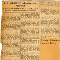 Image of Digital images of Digital images of newsclippings of two part article about Patrick R. Griffin, Administrator, Hoboken, 1924. - Documents