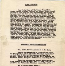 Image of Digital image of typed carbon text regarding history of the Martha Institute & Industrial Education Assn. No source or date, probably ca. 1920-1940. - Documents