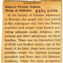 Image of Digital image of newsclipping editorial: Historic Private Schools Merge in Hoboken. Hudson Dispatch, April 4, 1934. - Documents