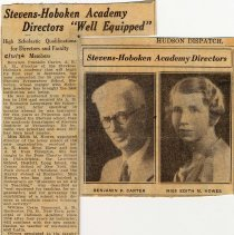 "Image of Digital images of newsclipping: Stevens-Hoboken Academy Directors ""Well Equiped"". Hudson Dispatch, May 31, 1934. - Documents"