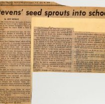 Image of Digital image of newsclipping: Stevens' seed sprouts into school. Hudson Dispatch, July 10, 1979. - Documents