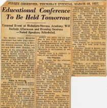 Image of Digital image of newsclipping: Educational Conference to be Held Tomorrow. Jersey Observer, March 18, 1937. - Documents