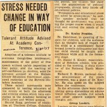 Image of Digital image of newsclipping: Stress Needed Change in Way of Education. Jersey Observer, March 20, 1937. - Documents