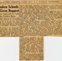 Image of Digital image of newsclipping: Hoboken Schools Given Bequest. Library Fund Left by late Mrs. Violette Barrie. Hudson Dispatch, Sept. 17, 1946. - Documents