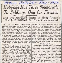 Image of Digital image of newsclipping: Hoboken Has Three Memorials to Soldiers, One for Firemen. Hudson Dispatch, July 1932. - Documents