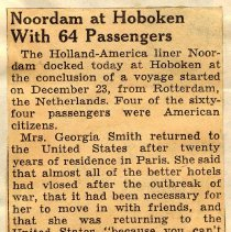 Image of Digital image of newsclipping: Noordam at Hoboken With 64 Passengers. New York Sun, Jan. 4, 1940. - Documents