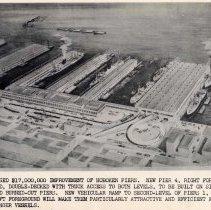 Image of Digital image of B+W photo of artist's rendering of proposed Hoboken pier improvements, no place (New York), no date, circa 1947. - Photograph, Illustration