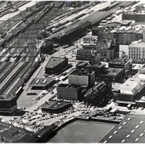 Image of Digital image of B+W aerial photo of southeast Hoboken, no date, circa 1980. - Print, Photographic