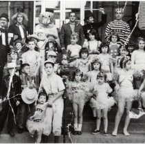 Image of B+W copy photo of group of costumed participants in the first Ragamuffin Parade, Hoboken, no date, circa 1962. - Print, Photographic