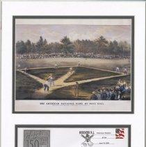 Image of Postal cachet issued by the Hoboken Post Office for the 150 Anniversary of Hoboken and commemorating the 1846 baseball game at Elysian Fields, Hoboken - Cachet, Postal