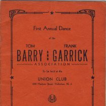 Image of Digital images of program: First Annual Dance of Tom Barry & Frank Garrick Assn., Union Club, Hoboken, Sept. 15, 1950. - Program