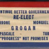 Image of Digital image: Pin, Re-Elect Grogran, Hoboken, no date, ca.1957 or 1961. - Button, Political