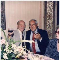 Image of Digital image of color photo of Steve Cappiello (left) with John Hounts at a dinner, Hoboken?, no date, ca. 1980's. - Print, Photographic